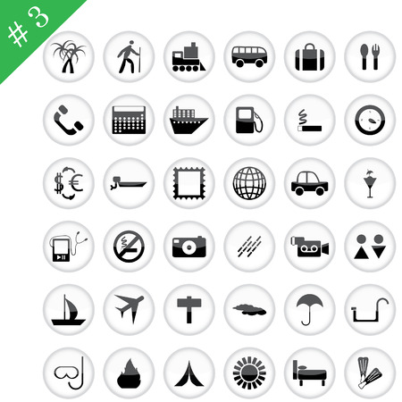 Collection of different icons for using in web design. Set #3. Vector