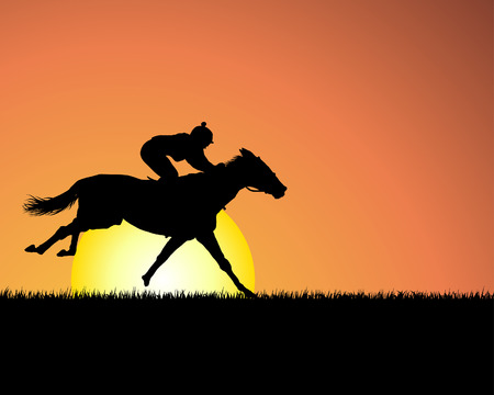 foal: Horse silhouette on sunset background. Vector illustration.