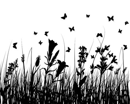 Vector grass silhouettes background for design use Stock Vector - 5124175