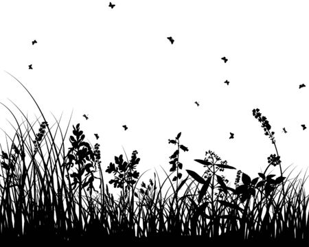 Vector grass silhouettes background for design use Stock Vector - 5124174