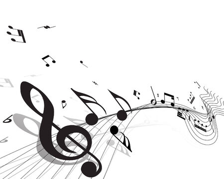 funky music: Vector musical notes staff background for design use Illustration