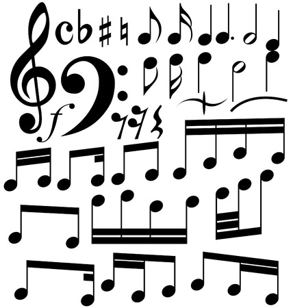 bass clef: Full set of notes symbols on the white background