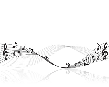 vector lines: Vector musical notes staff background for design use Illustration