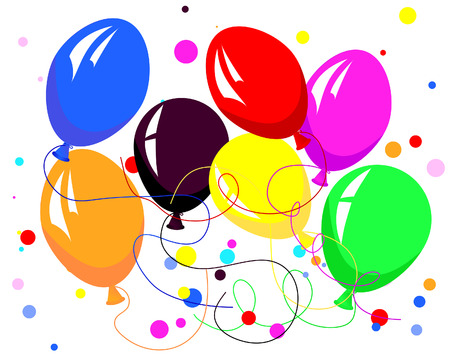 Beautiful colour balloon in the air. Vector illustration. Vector