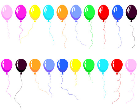 airs: Set of beautiful colour balloon in the air. Vector illustration. Illustration