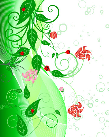 green leafs: Green floral vector background for design use