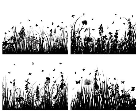 Vector grass silhouettes backgrounds set for design use Stock Vector - 5144041