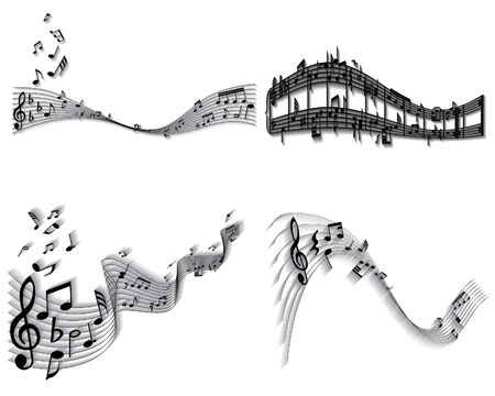 Vector musical notes staff backgrounds set for design use Vector