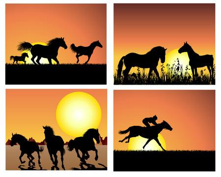 Set de siluetas de caballos en el fondo del atardecer. Ilustración del vector.