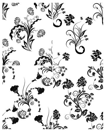 Floral seamless vector backgrounds set.  For easy making seamless pattern just drag all group into swatches bar, and use it for filling any contours. Stock Vector - 5175107