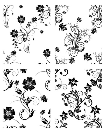 siluetas: Floral seamless vector backgrounds set.  For easy making seamless pattern just drag all group into swatches bar, and use it for filling any contours. Illustration