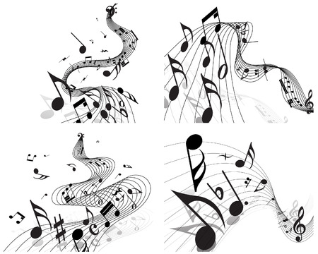 Vector musical notes staff backgrounds set for design use Stock Vector - 5175100