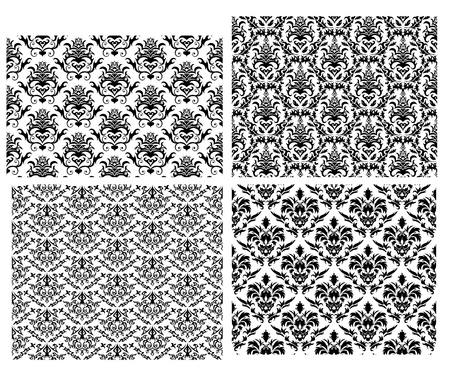 Damask seamless vector backgrounds set.  For easy making seamless pattern just drag all group into swatches bar, and use it for filling any contours. Stock Vector - 5212315