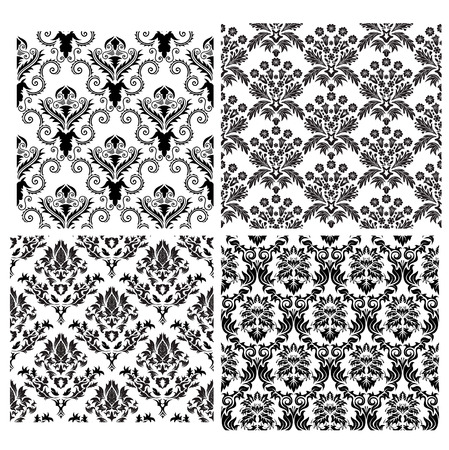 Damask seamless vector backgrounds set.  For easy making seamless pattern just drag all group into swatches bar, and use it for filling any contours. Stock Vector - 5212316