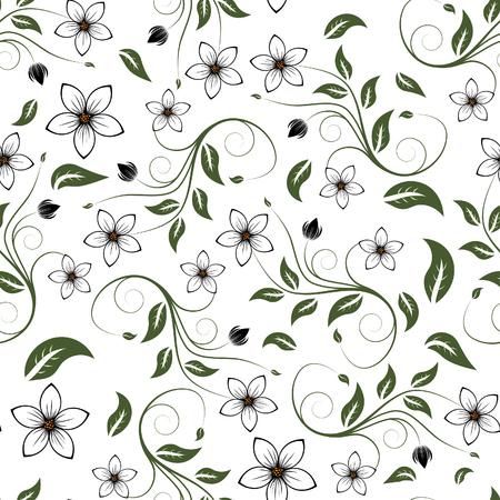 Seamless vector floral background. Pour faciliter la répartition homogène de l'ensemble du groupe suffit de glisser dans la barre des échantillons, et l'utiliser pour remplir toute contours.