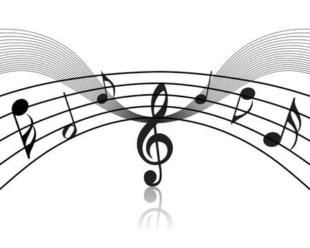 Musical notes staff theme for use in web design Stock Vector - 5212288