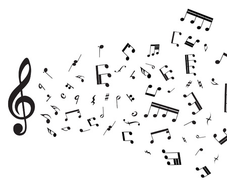 vector  sign: Musical notes staff theme for use in web design