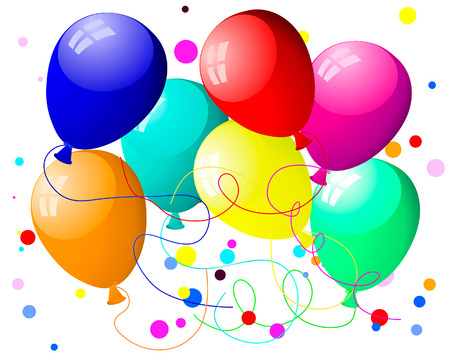 Beautiful colour balloon in the air. Vector illustration. Vector