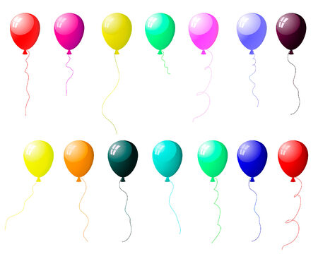 helium: Beautiful colour balloons set with spot of light. Vector illustration.
