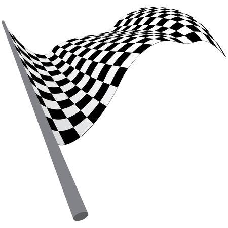 d�part course: Noir � carreaux blancs et pavillon de course. Vector illustration.