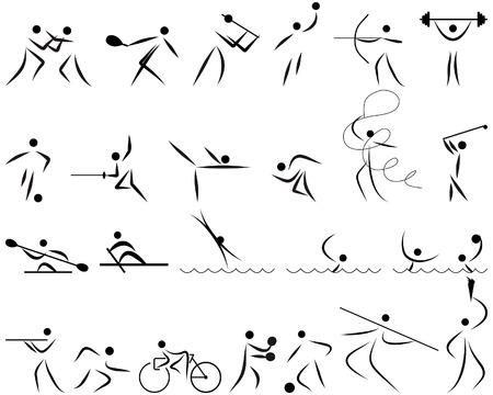 swim race: Ilustraci�n vectorial de verano juegos de deportes iconos conjunto