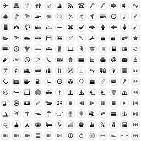 rubbish cart: Biggest collection of 170 different icons for using in web design