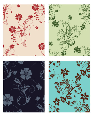 Floral seamless vector color backgrounds set.  For easy making seamless pattern just drag all group into swatches bar, and use it for filling any contours. Stock Vector - 5233309