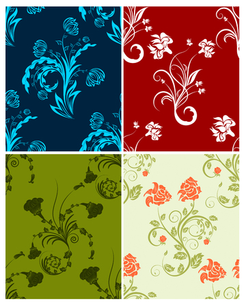 siluetas: Floral seamless vector color backgrounds set.  For easy making seamless pattern just drag all group into swatches bar, and use it for filling any contours. Illustration