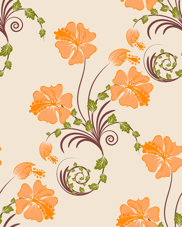 Seamless vector floral background. For easy making seamless pattern just drag all group into swatches bar, and use it for filling any contours. Vector