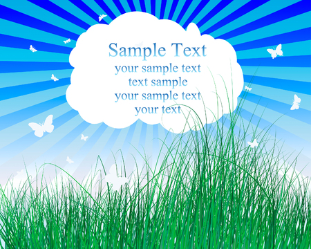 Vector illustration grass background with copy space Vector