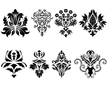 Abstract damask emblem set for design use Vector