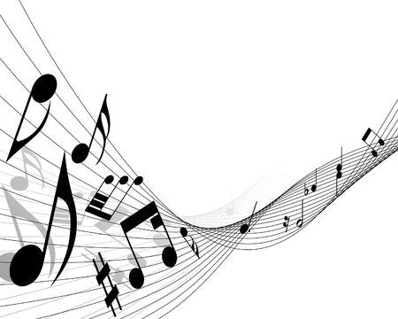 sounds: Vector musical notes staff background for design use Illustration