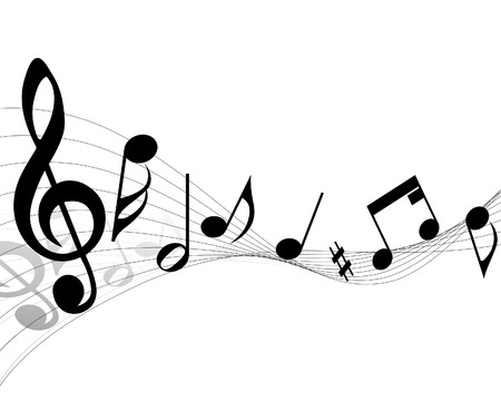 Notas musicales del personal de vectores de fondo para el diseño uso