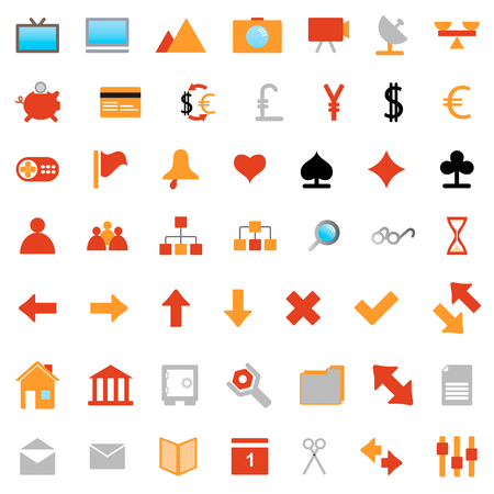 Collection of different icons for using in web design. Stock Vector - 5270635