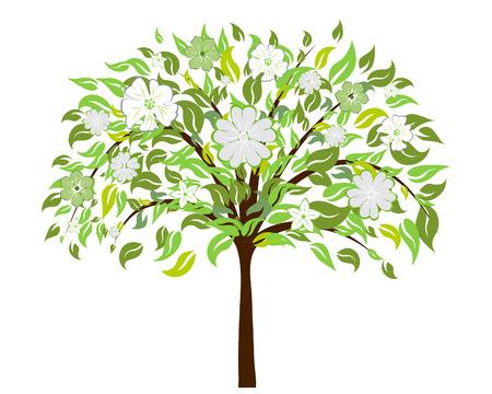 Albero bella estate fiore fiori. Illustrazione vettoriale.