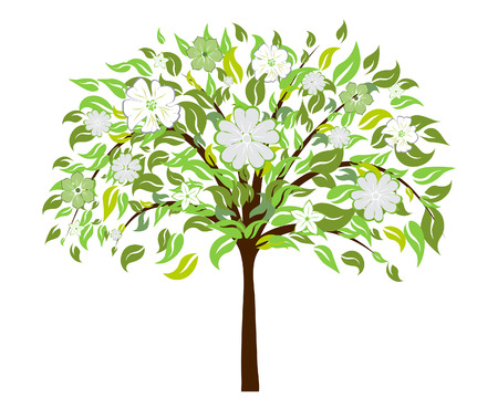 Beautiful summer tree with blossom flowers. Vector illustration. Stock Vector - 5299550