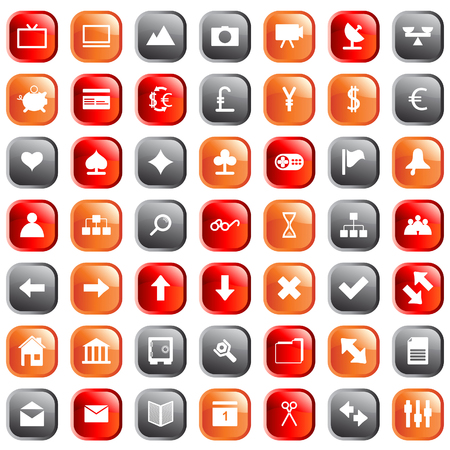 Collection of different icons for using in web design. Stock Vector - 5299553