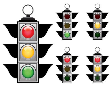 Ful signals set of vector traffic lights Vector