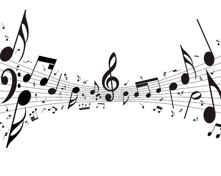 Vector musical notas de antecedentes del personal para el uso de diseño