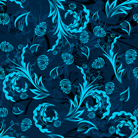 Seamless vector floral background. For easy making seamless pattern just drag all group into swatches bar, and use it for filling any contours. Stock Vector - 5299605
