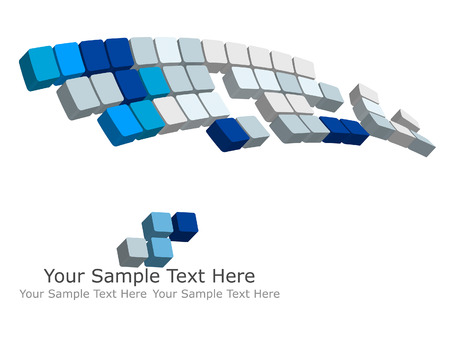 abstract 3d blocks: Abstract 3d checked  business background for use in web design Illustration