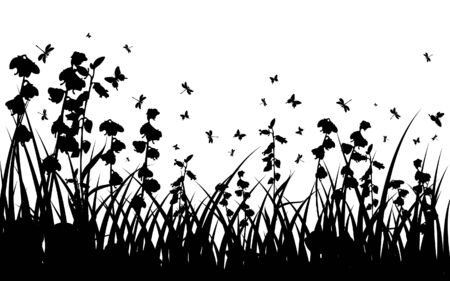 Vector grass silhouettes background for design use. 16:10 Vector