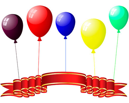 Beautiful colour balloons in the air. Vector illustration. Vector