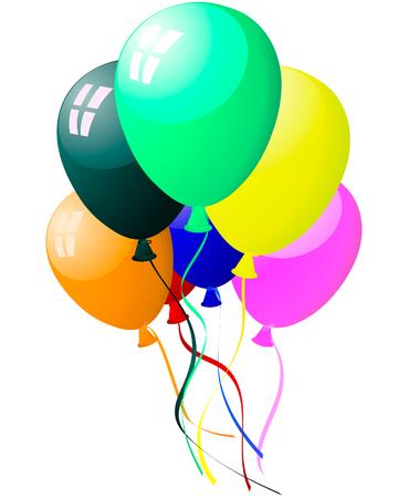 Bellos globos de color en el aire. Ilustración del vector. Ilustración de vector