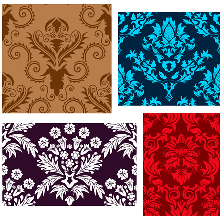 Damask seamless vector backgrounds set.  For easy making seamless pattern just drag all group into swatches bar, and use it for filling any contours. Stock Vector - 5302869