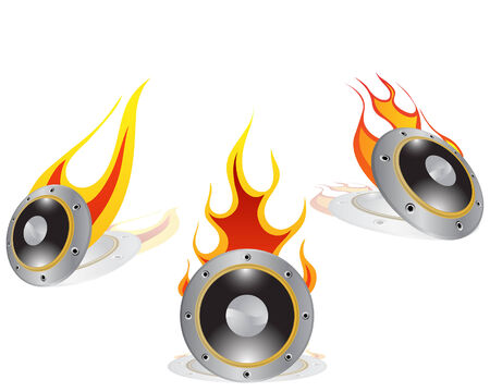 Hot loudspeakers background with shadows. Vector illustration. Vector