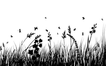 Vector grass silhouettes background. All objects are separated. Stock Vector - 5310454