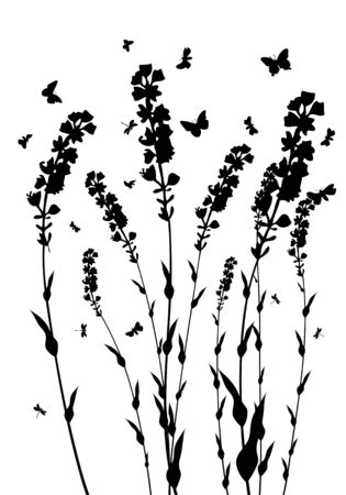 Vector grass silhouettes background. All objects are separated. Stock Vector - 5310450