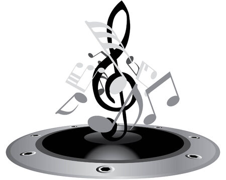 speakers: Vector musical notes staff background for design use Illustration