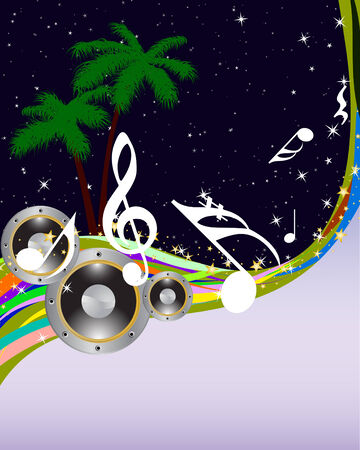 grunge music background: Tropical de m�sica de fondo del grunge con el espacio de copia